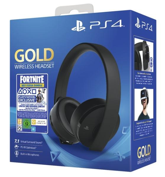 PS4 - Gold Wireless 7.1 headset + Fortnite VCH (2019) 500 V Bucks
