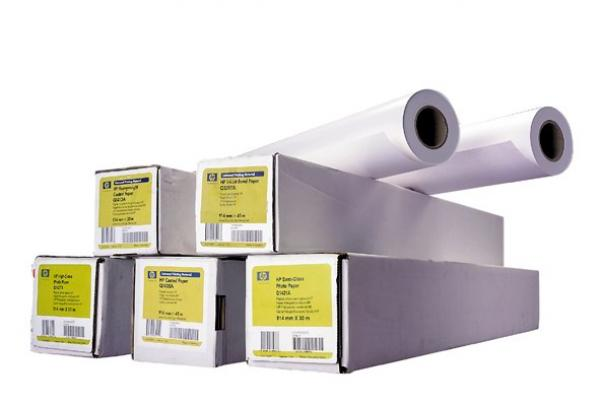 HP Bright White Inkjet Paper-594 mm x 45.7 m (23 in x 150 ft),  4.8 mil,  90 g/ m2,  Q1445A