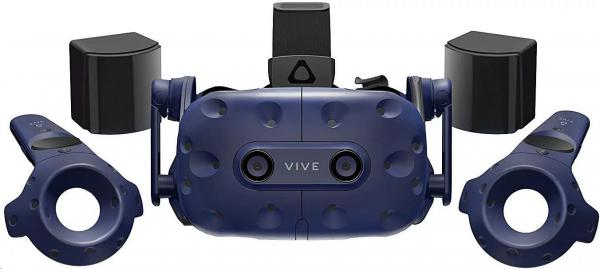 HTC Vive Pro Virtual Reality Headset (Kit),  Blue (VR glasses,  Motino Sensors,  Controller,  built-in audio)